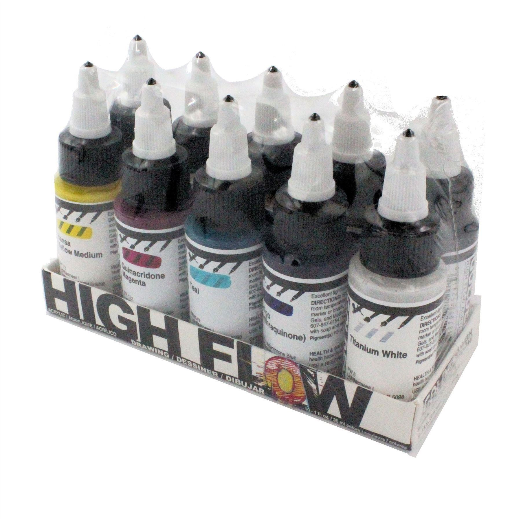 Golden high flow acrylic drawing set 10x30ml bottles