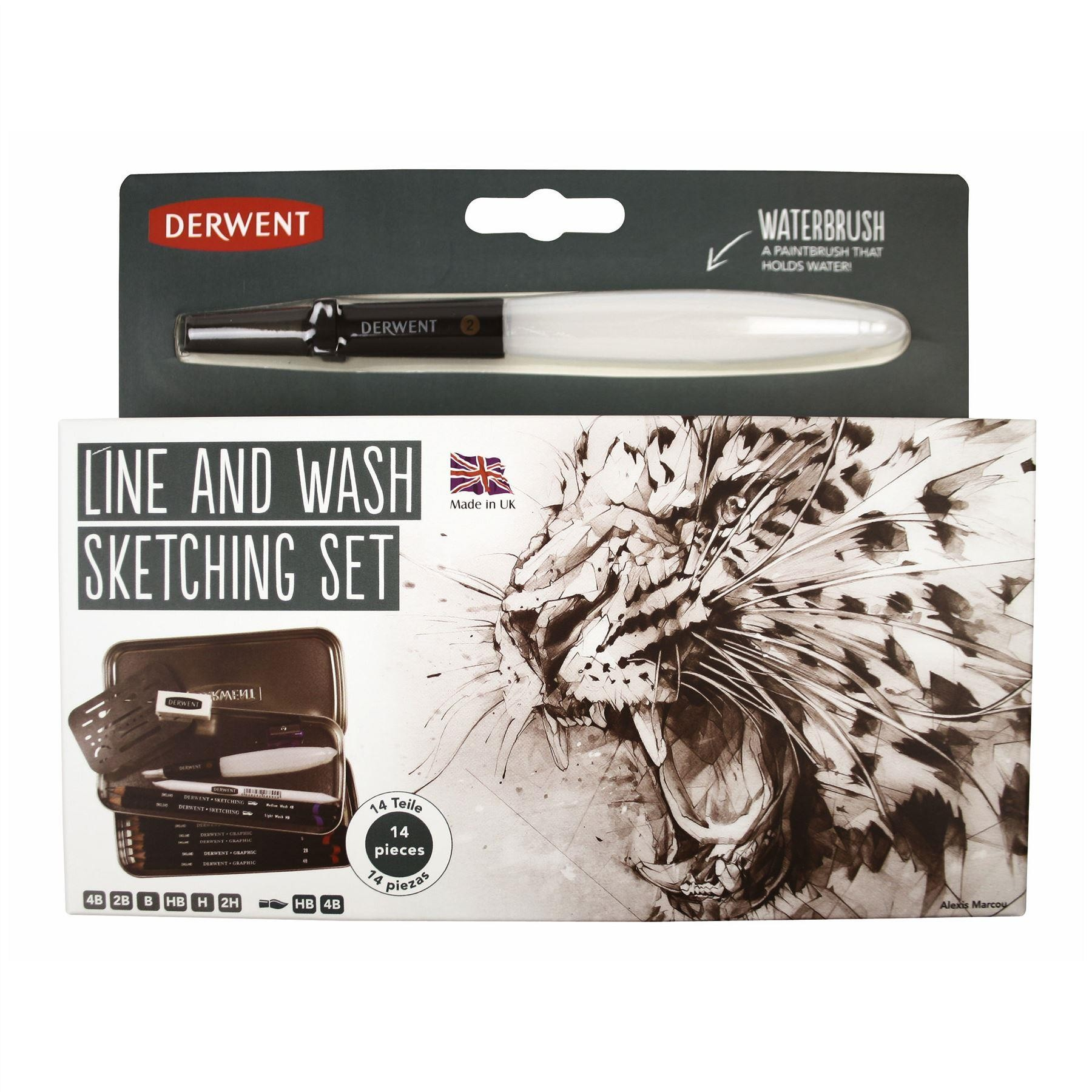 Derwent Line and Wash Set pencil and brush travel tin