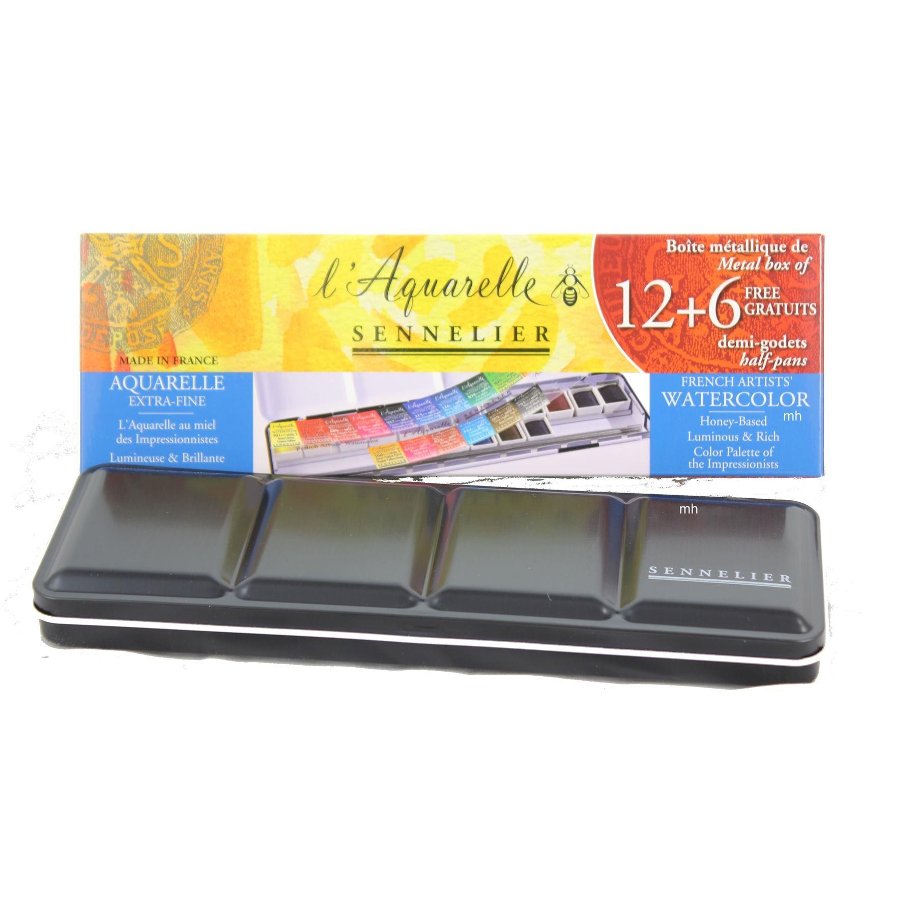 Sennelier watercolour pan set, 12 +6 1/2 pan in palette