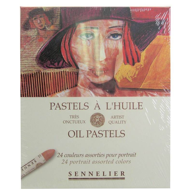 Sennelier artists oil pastels 24 portraits assorted colour range box set