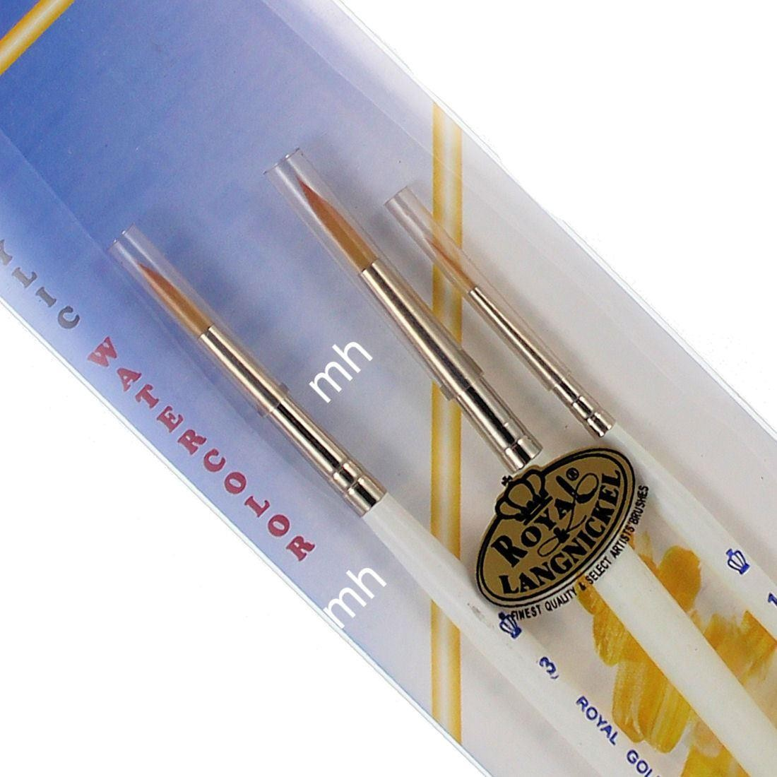 Royal & Langnickel 3 Golden Taklon Acrylic Watercolour Brush Set RG-105
