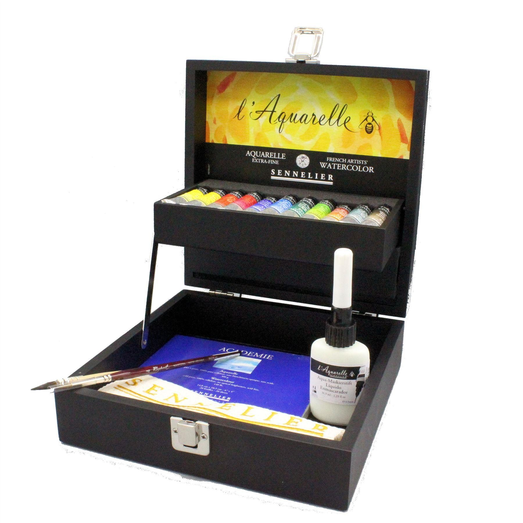 sennelier artists watercolour paint set in black box