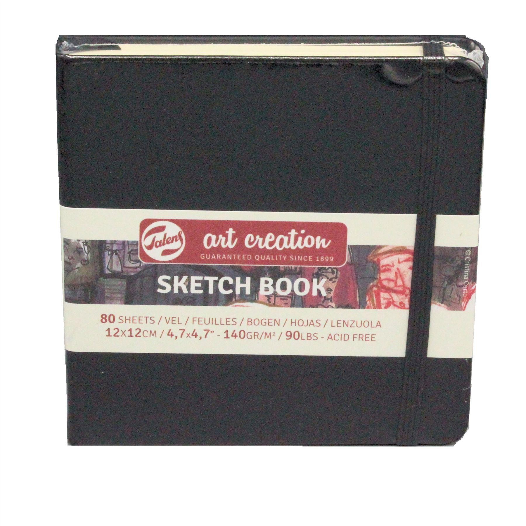Talens sketch book hard back drawing paper pad 12x 12cm 80 sheets 140gsm