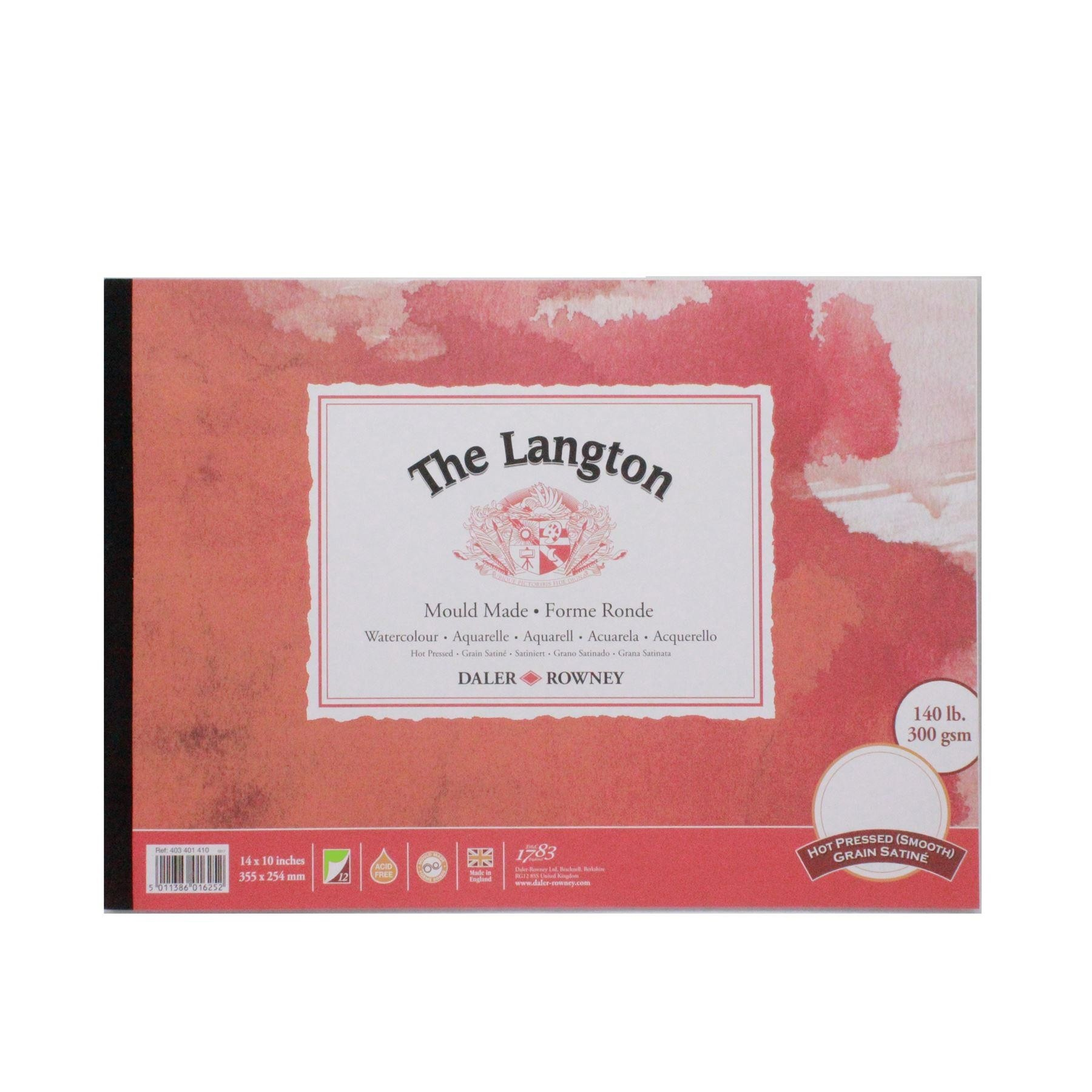 "Daler Rowney langton watercolour hot pressed pad 14x10"" 300g 12sh"