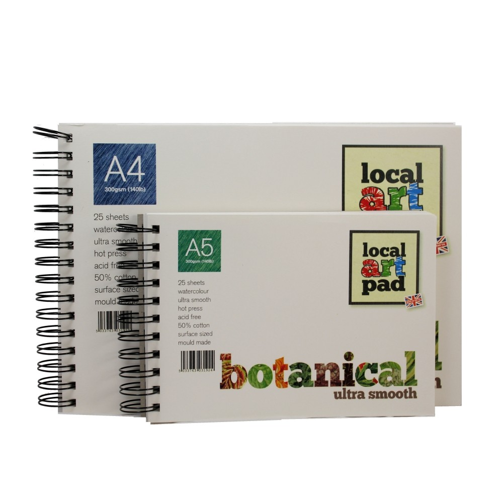 Local Art Pad A4 or A5 Botanical Hot Press Ultra Smooth Watercolour paper pad 25 sheets 300gsm, 50% cotton