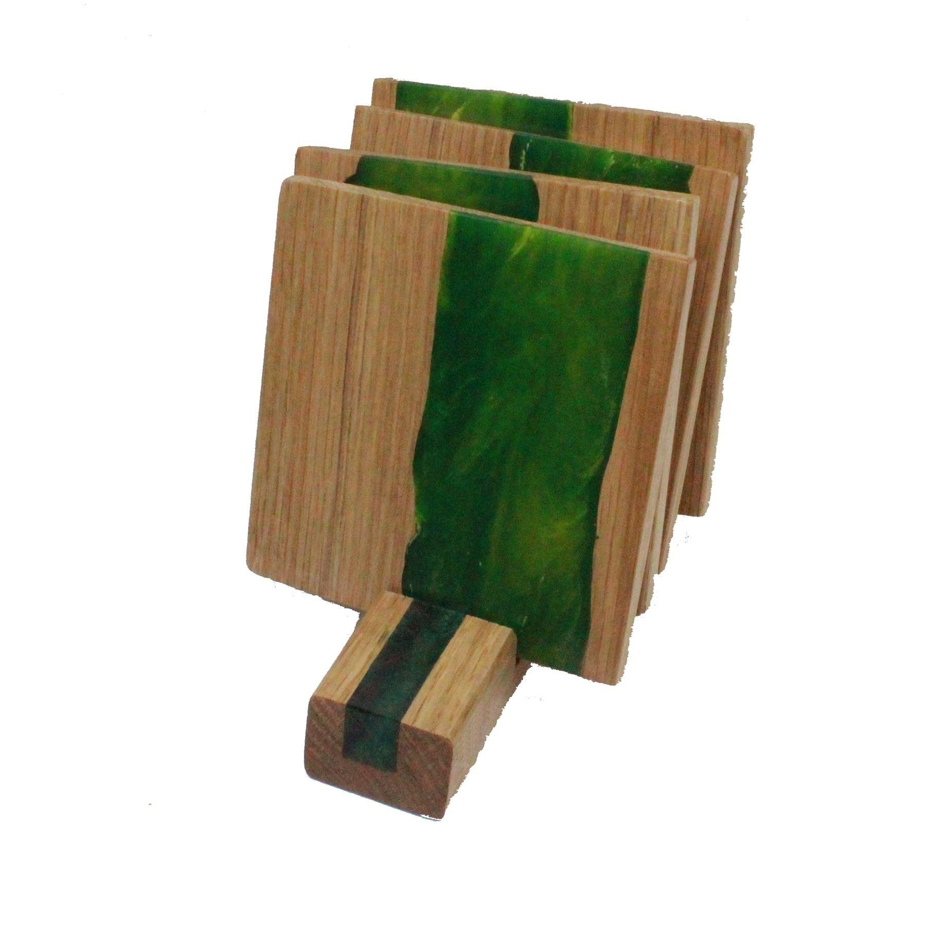 4 wooden oak and Green Yellow resin coasters and stand