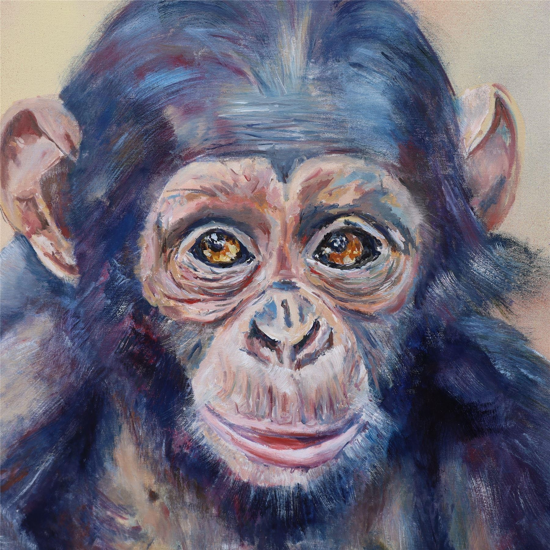 "baby chimpanzee by Mark Hutchby 30"" x 30"" oil painting"