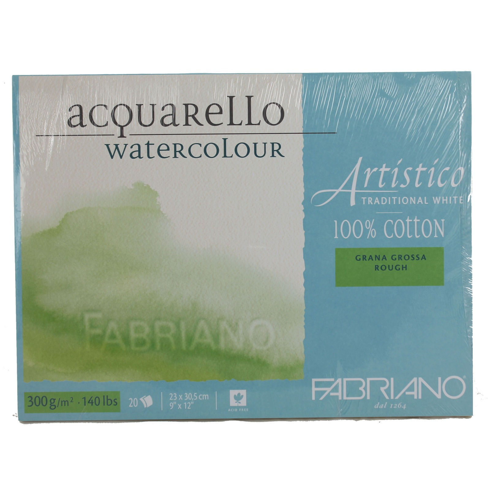 Fabriano Artistico Watercolour Block Pad 100% Cotton Rough 300gsm assorted sizes
