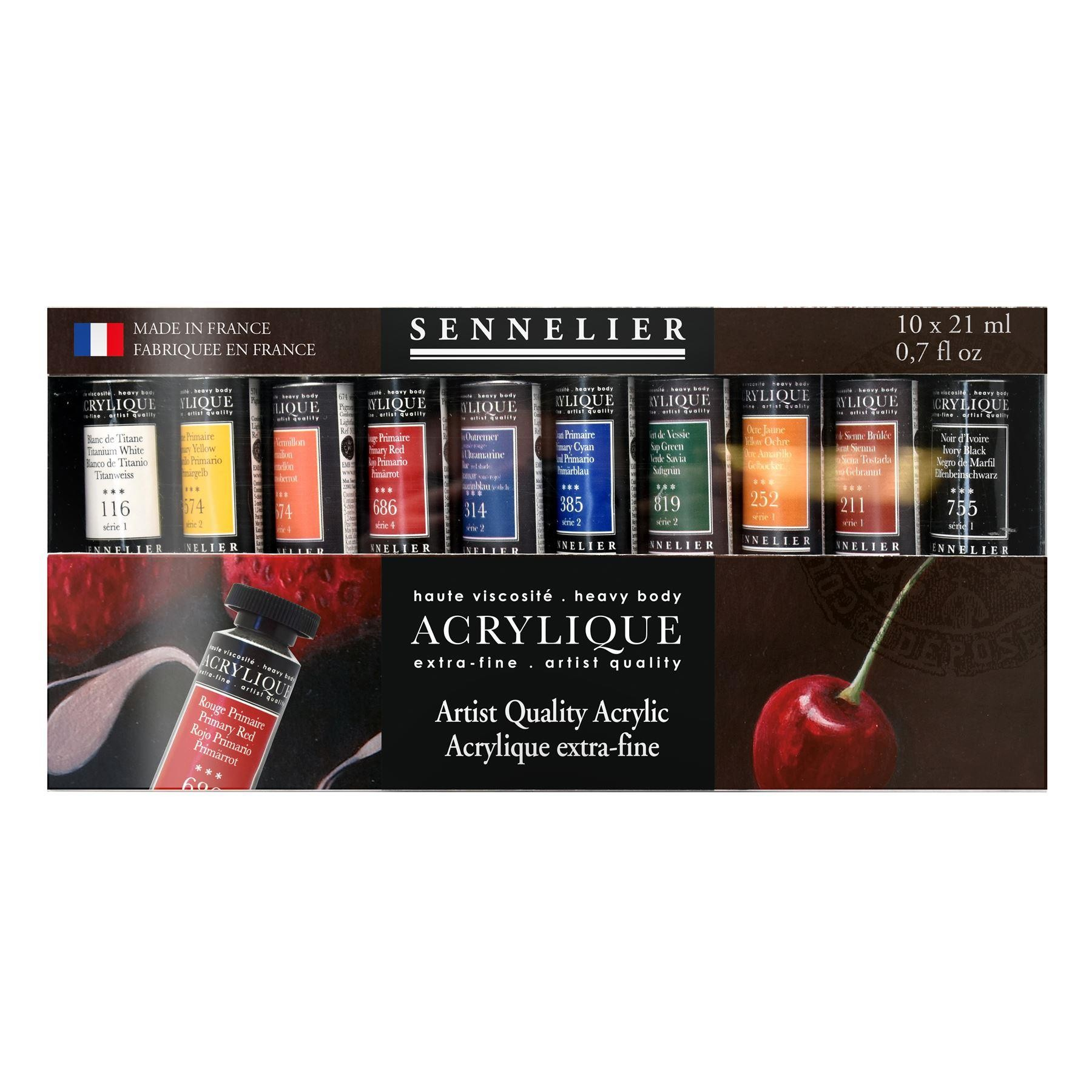 Sennelier extra fine heavy body acrylic paint set of 10 21ml tubes