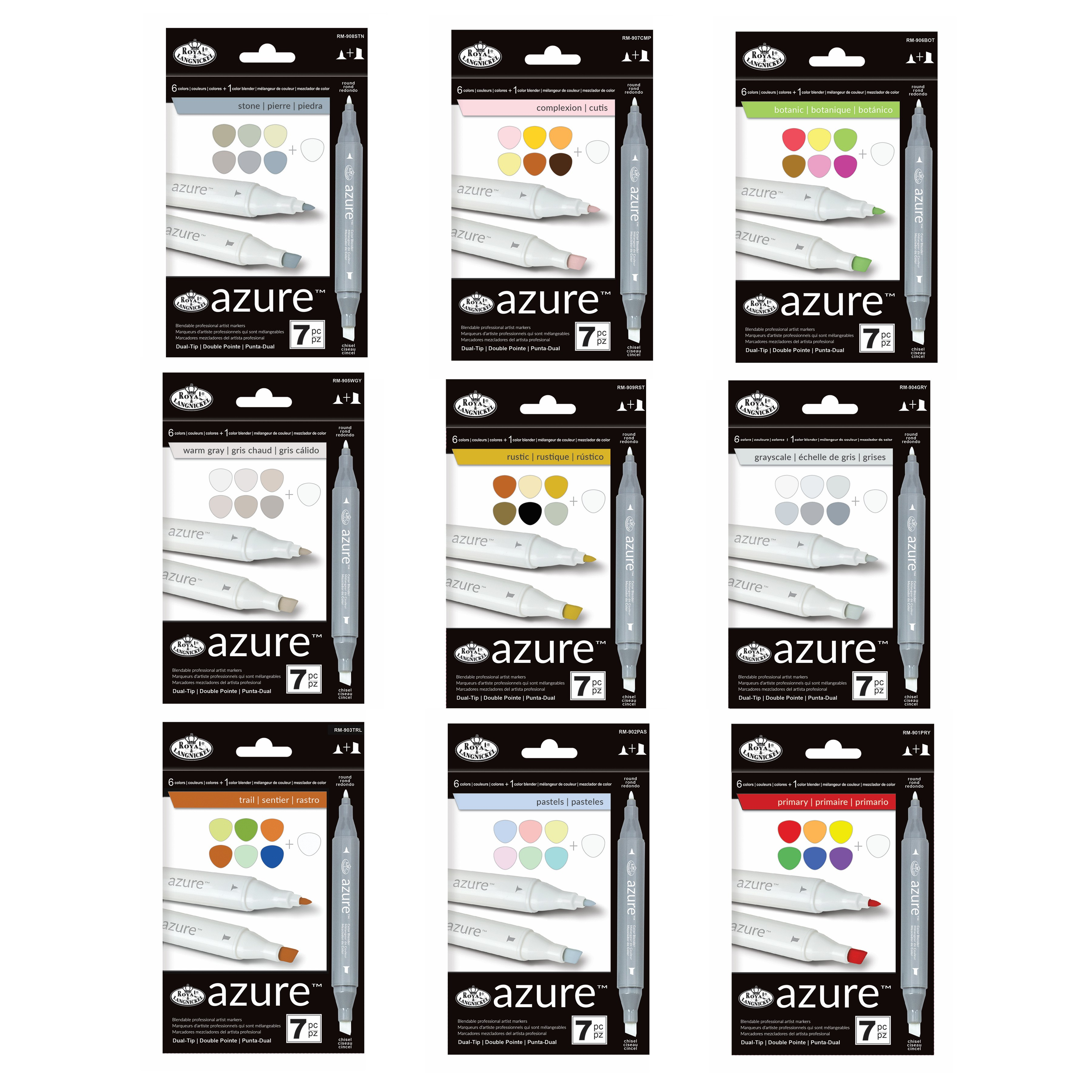 Royal & Langnickel 7-Piece Colour Marker Set - Azure Double-ended Artist's Markers With Blender