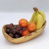 Olive wood rustic fruit boat