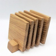 5 wooden oak coasters and stand