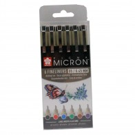 Sakura pigma micron pens 6 basic colour fineliner micron set