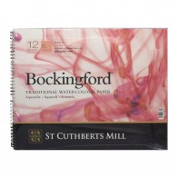 "Bockingford Watercolour Pad Spiral Bound Paper 12 Sheets 16""x12"" Hot Pressed"