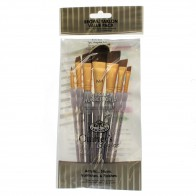 RCC-312 Royal Brush Craft/Art Brush Brown Taklon value pack 7pc Angular Set