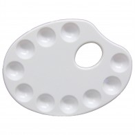 Royal & Langnickel paint palette 10 well oval kidney white plastic