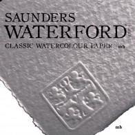 "Saunders Waterford 22"" x 15"", 2 sheets 100% cotton white Hot Press 190gsm(90lbs) watercolour paper"