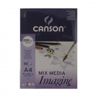 Canson Mixed Media imagine Pad A4 200gsm 50 Sheets artists drawing painting paper pad