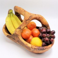 Olive wood fruit basket with handle