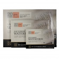 Saunders Waterford Hot Press Classic Watercolour Paper Blocks, 10x7, 14x10, 20x14