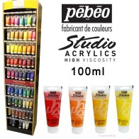 Pebeo Studio High Viscosity Acrylics, 100ml Tubes: Iridescent, Dynamic, Fluorescent
