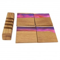 4 wooden oak and re purple resin coasters and stand