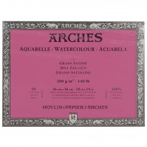Aquarelle Arches Watercolour Block Hot Pressed - 20 Sheets - 26x36cm