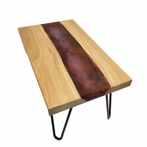 Oak with resin river coffee table live edge pink red purple