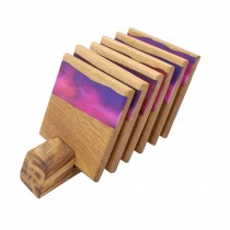 6 wooden oak and purple pink resin coasters and stand