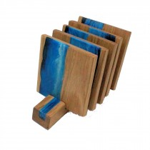 5 wooden oak and blue white resin coasters and stand