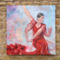 Spanish dancer in red by Mark Hutchby original oil painting