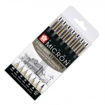 Sakura Pigma micron pen set 6 fineliners and 1 brush