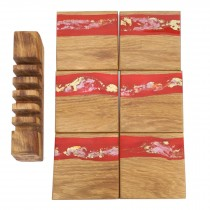 6 wooden oak and Red gold resin coasters and stand