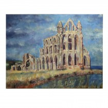 "Whitby abbey original oil painting 40""x30"" deep edge canvas"