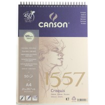 Canson 1557 Spiral Bound Pad - A4 Size 120gsm 50 sheets extra white light grain
