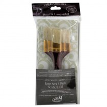 Royal & Langnickel Large Area Brushes 3 Pack - Acrylic & Oil - Angular Firm White Bristle