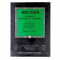Aquarelle Arches Watercolour Pad Cold Pressed - 12 Sheets - 23x31cm
