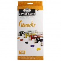 Royal & Langnickel Artist student Paint 12 colour Set Gouache 21ml tube