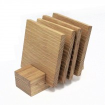 4 wooden oak coasters and stand