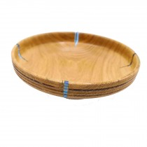 Wooden oak bowl with blue resin sections. 22cm x 22cm x 6.5cm