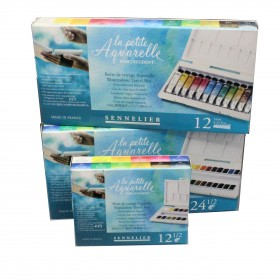 Sennelier La Petite Aquarelle watercolour travel sets half pans or 10ml tubes