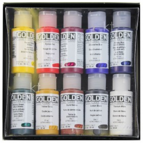 Golden 10 professional fluid acrylic paints 30ml bottles set