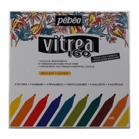 Pebeo 9 assorted markers case vitrea 160 glossy