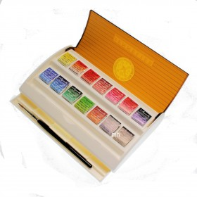 Sennelier L'Aquarelle Extra Fine Watercolour 14 Half Pans & Brush Set Travel box