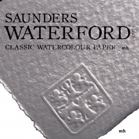 """Saunders Waterford 22"""" x 15"""", 2 sheets 100% cotton white CP 300gsm (140lb) watercolour paper"""
