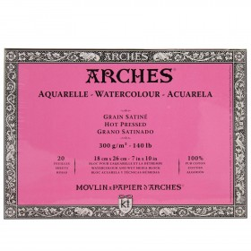"""Arches Watercolour Block Hot Pressed - 100% Cotton 20 Sheets 7x10"""""""