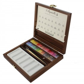 Sennelier L'Aquarelle Wooden box Extra Fine Artists Watercolour 24 x Half Pans & Brush Set