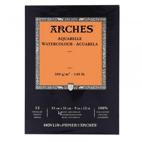 Aquarelle Arches watercolour pad rough 12 sheets 26 x 36cm