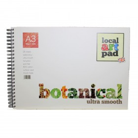 Local Art Pad Botanical Hot press A3 Watercolour paper pad 25 sheets 300gsm, 50% cotton