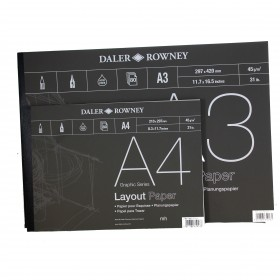 Daler Rowney Layout Paper Pad A4, A3 or A2, 45gsm marker paper,